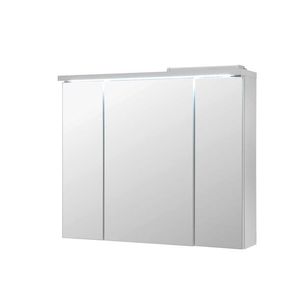 Sconto Zrcadlová skříňka POOL bílá vysoký lesk, 80 cm