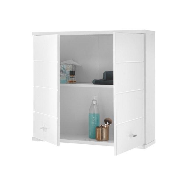 Závěsná skříňka POOL bílá vysoký lesk, šířka 76 cm 3