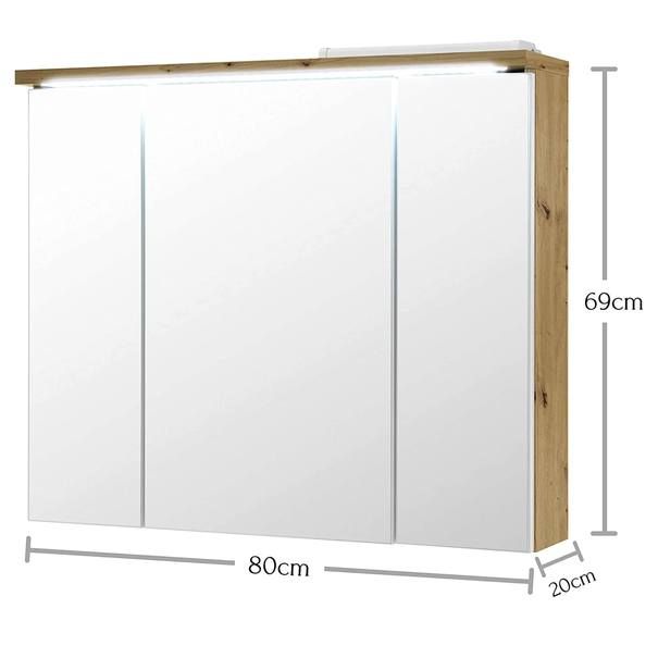 Zrcadlová skříňka POOL dub artisan, 80 cm 5