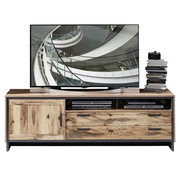 Sconto TV komoda PRATO alpine lodge/grafit, šířka 184 cm - nábytek SCONTOnábytek.cz