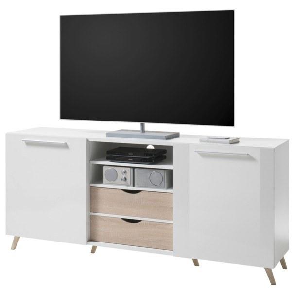 TV komoda PUSH bílá vysoký lesk/dub sonoma 1