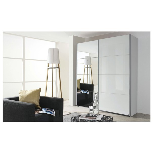 Šatní skříň QUADRA 226 bílá vysoký lesk/zrcadlo 2