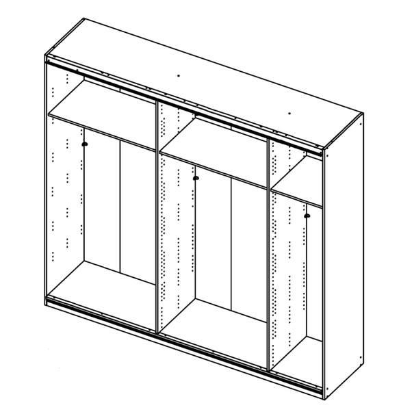 Šatní skříň QUADRA 226 bílá vysoký lesk/zrcadlo 3