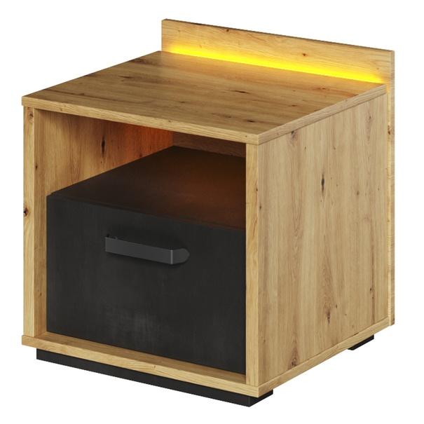 Sconto Noční stolek QUBIC 10 dub artisan/černá - nábytek SCONTO nábytek.cz