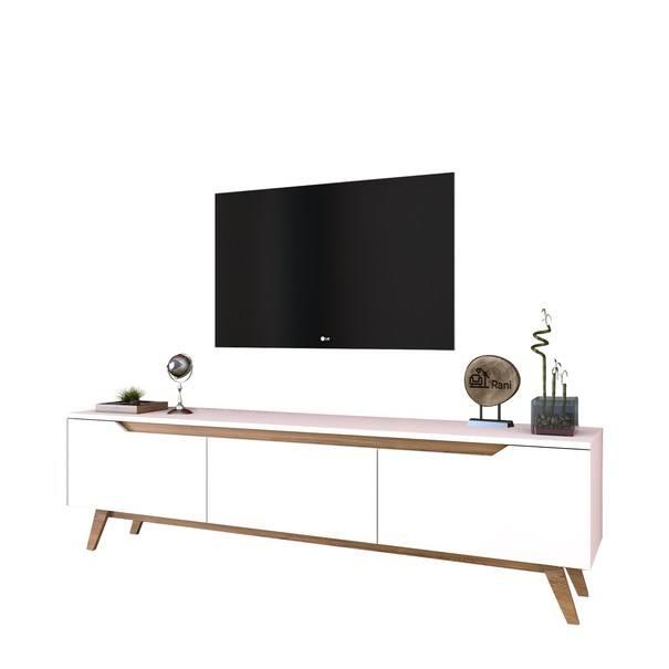 TV stolek  QUINN bílá/světlý ořech 1