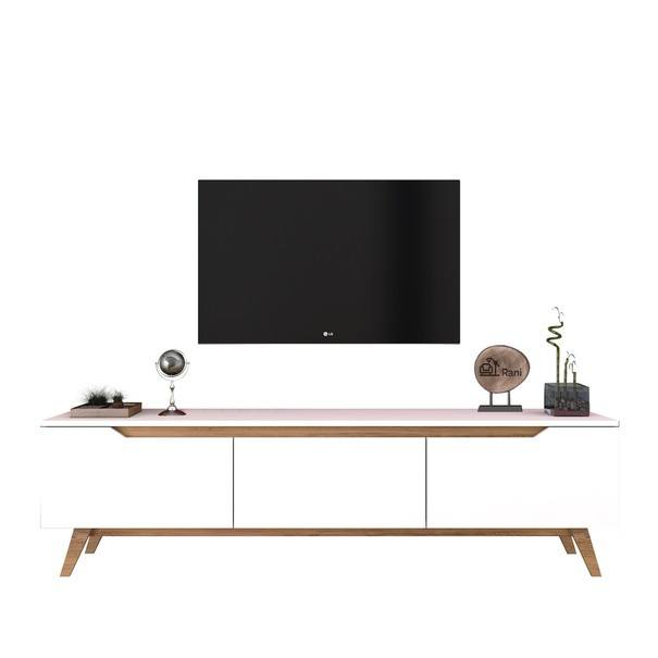 TV stolek  QUINN bílá/světlý ořech 4