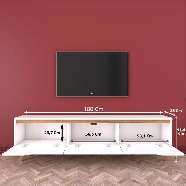 TV stolek  QUINN bílá/světlý ořech 5