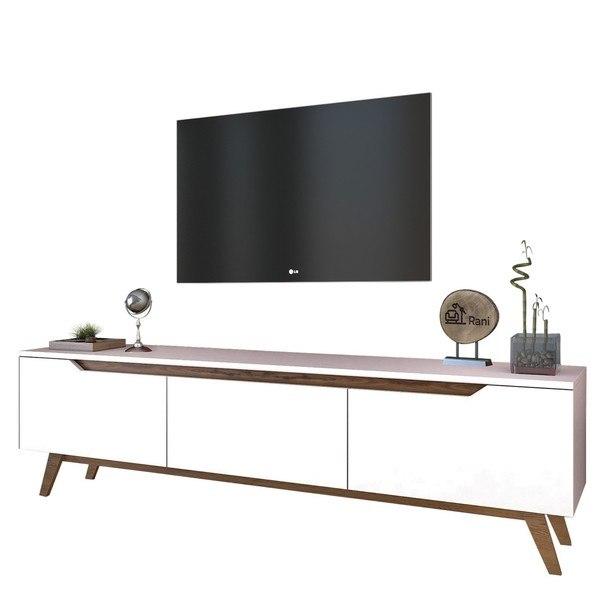 Sconto TV stolek QUINN bílá/tmavý ořech - nábytek SCONTO nábytek.cz