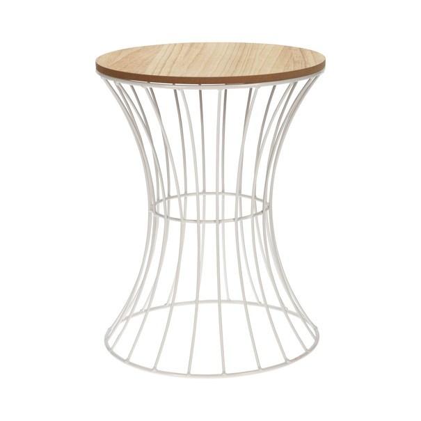 Odkládací stolek  RAMON bílá/přírodní 1