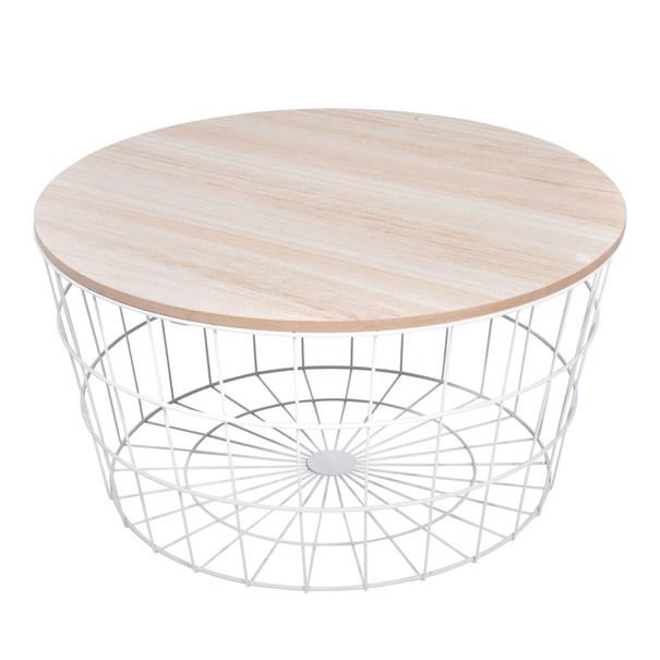 Odkládací stolek  RAMONA bílá/přírodní 1