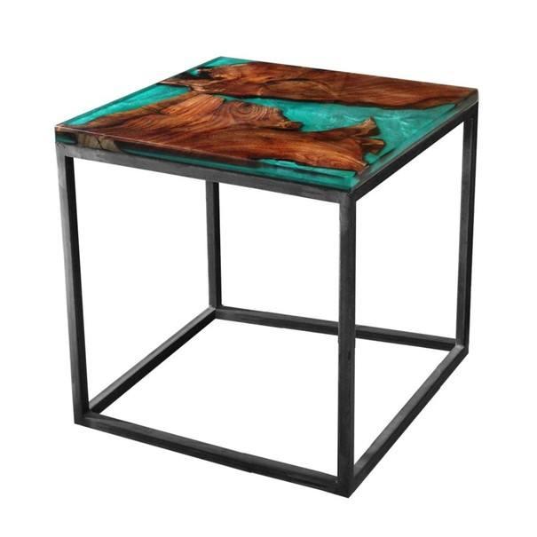 Sconto Odkládací stolek RESIN 50x50 cm, zelená/šedá - nábytek SCONTOnábytek.cz