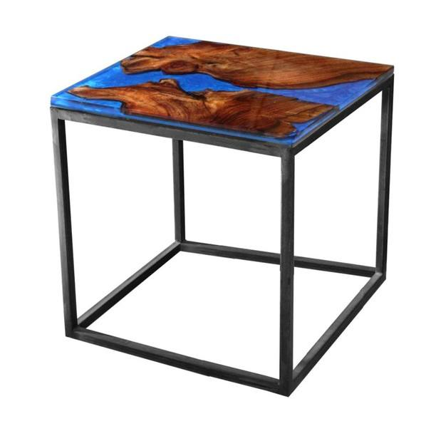 Sconto Odkládací stolek RESIN 50x50 cm, modrá/šedá - nábytek SCONTO nábytek.cz