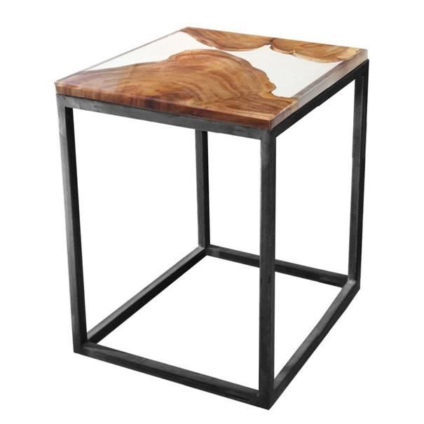 Sconto Odkládací stolek RESIN 40x40 cm, transparentní/šedá - nábytek SCONTOnábytek.cz