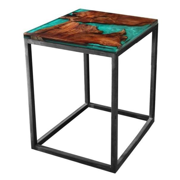 Sconto Odkládací stolek RESIN 40x40 cm, zelená/šedá - nábytek SCONTOnábytek.cz