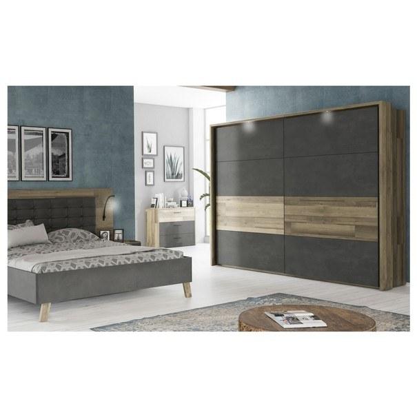 Šatní skříň  RICCIANO dekor dub parketový/tmavě šedá 2
