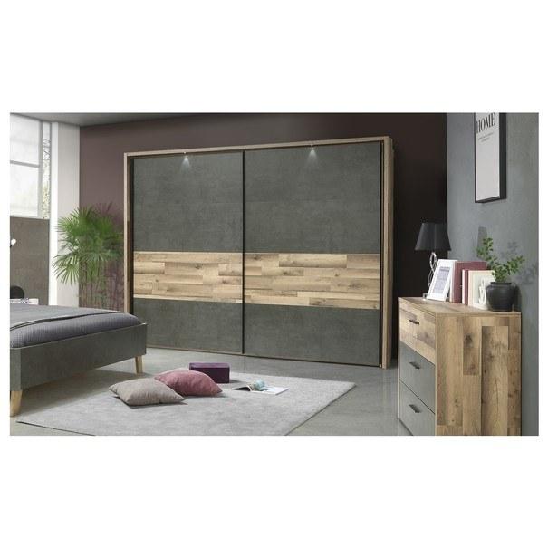 Šatní skříň  RICCIANO dekor dub parketový/tmavě šedá 4