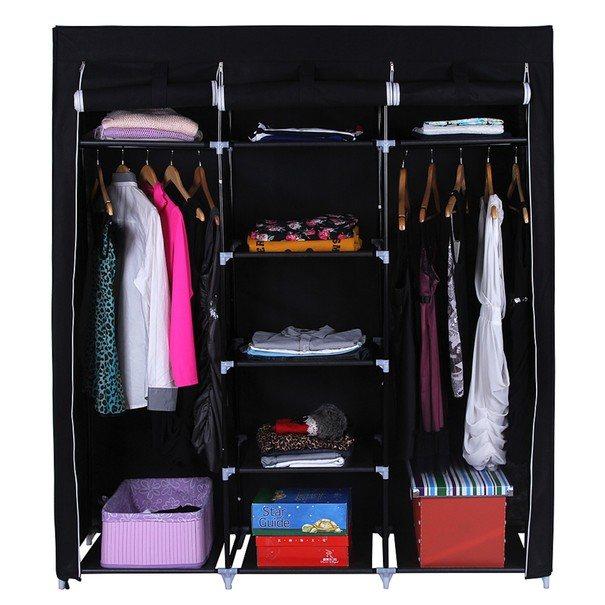 Látková šatní skříň RYG12 černá 7