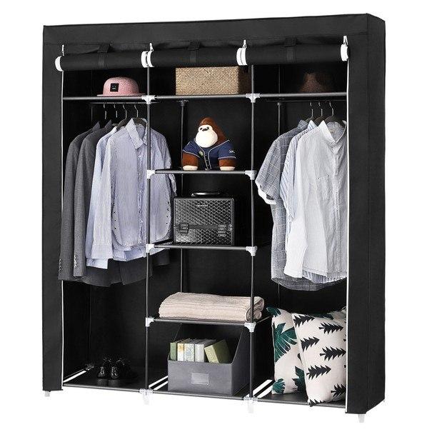 Látková šatní skříň RYG12 černá 8