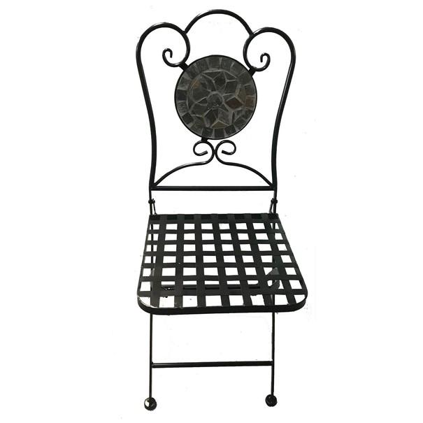Kovová skladacia stolička SAGARA čierna 6