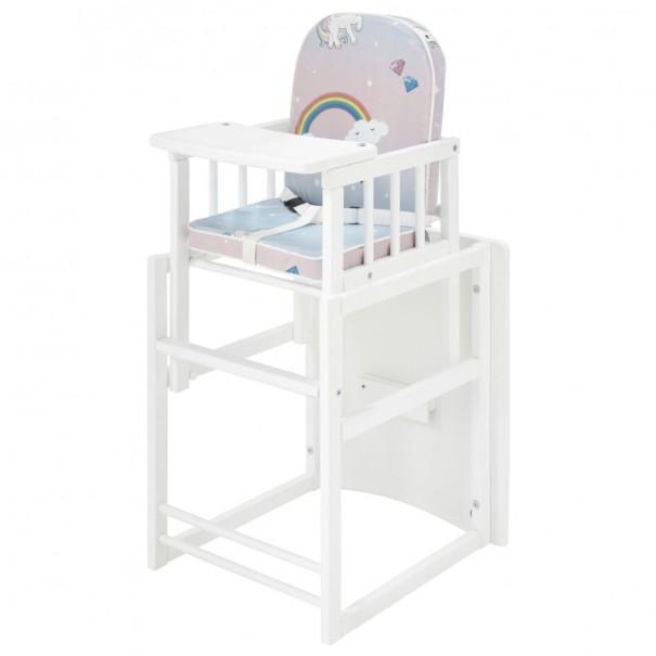 Detská kombinovaná stolička SARAN biela/motív jednorožci 1