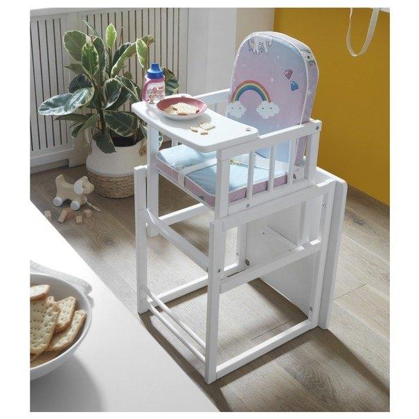 Detská kombinovaná stolička SARAN biela/motív jednorožci 2