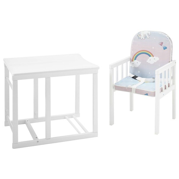Detská kombinovaná stolička SARAN biela/motív jednorožci 3