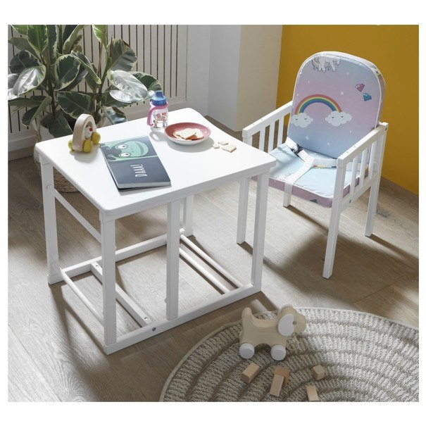 Detská kombinovaná stolička SARAN biela/motív jednorožci 5