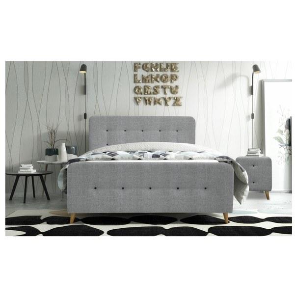 Posteľ s roštom a matracom SCANDIC sivá, 180x200 cm 2