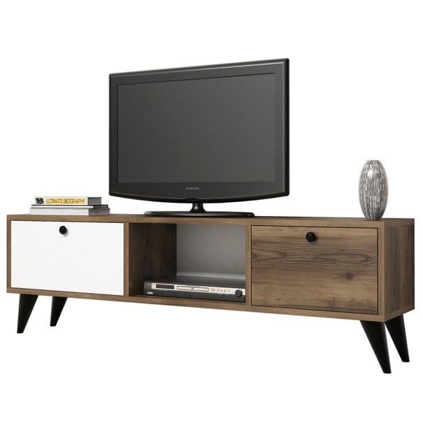 Sconto TV stolek SERENAT ořech/černá/bílá - nábytek SCONTOnábytek.cz