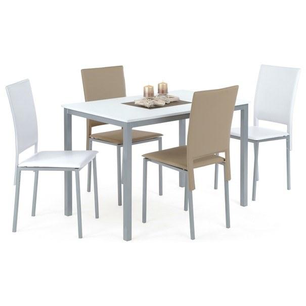 Jedálenský stôl SOKRATES biela/sivá 2