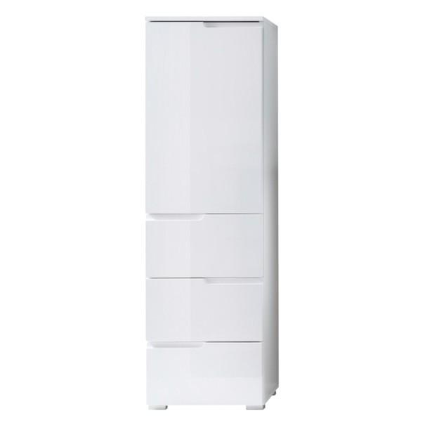 Sconto Polovysoká skrinka SPICE biela vysoký lesk