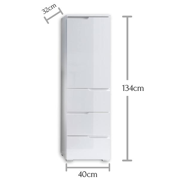 Polovysoká skříňka SPICE bílá vysoký lesk 8