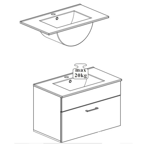 Umyvadlová skříňka SPLASH bílá vysoký lesk 4
