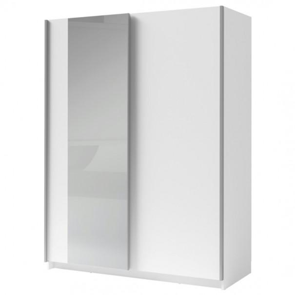 Sconto Šatní skříň se zrcadlem SPLIT bílá, 150 cm - nábytek SCONTO nábytek.cz