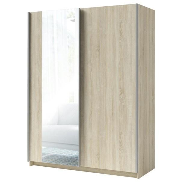 Šatníková skriňa so zrkadlom SPLIT dub sonoma, šírka 150 cm 1