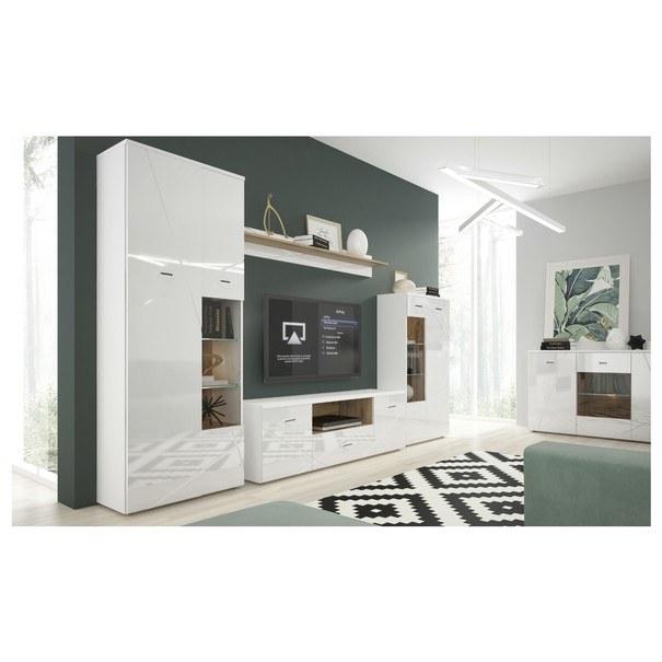 Obývací stěna STORM bílá/dub divoký 1