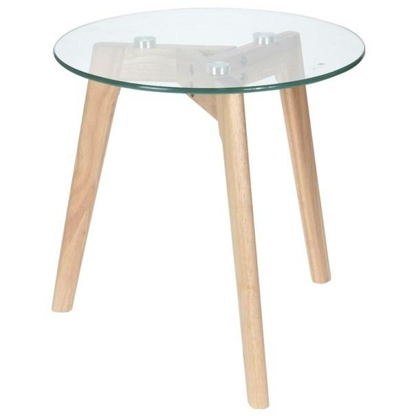Přístavný stolek TARA tvrzené sklo/přírodní 1