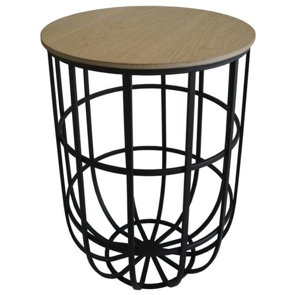 Odkládací stolík TARANIS dub tmavý/čierna 1