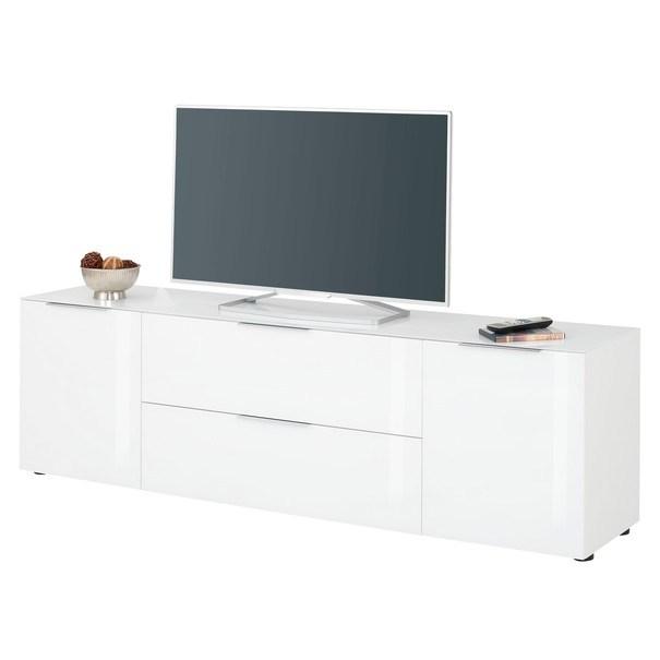 Sconto TV komoda TERRY III biela matná/biele sklo