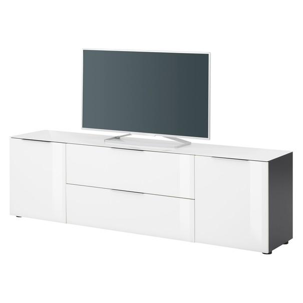 Sconto TV komoda TERRY III antracitová/biele sklo, horná doska tvrdené sklo