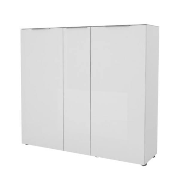 Sconto Botník TERRY VII bílá matná/bílé sklo, horní deska tvrzené sklo - nábytek SCONTO nábytek.cz