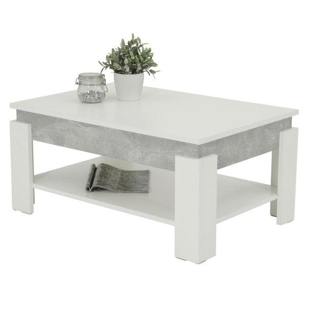 Sconto Konferenční stolek THEO beton/bílá - nábytek SCONTO nábytek.cz