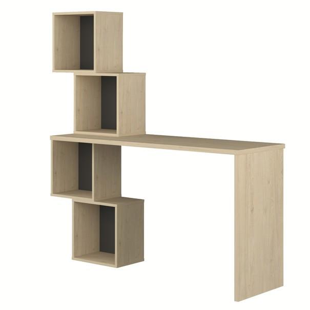 Sconto Písací stôl s regálom THOMAS dub/sivá