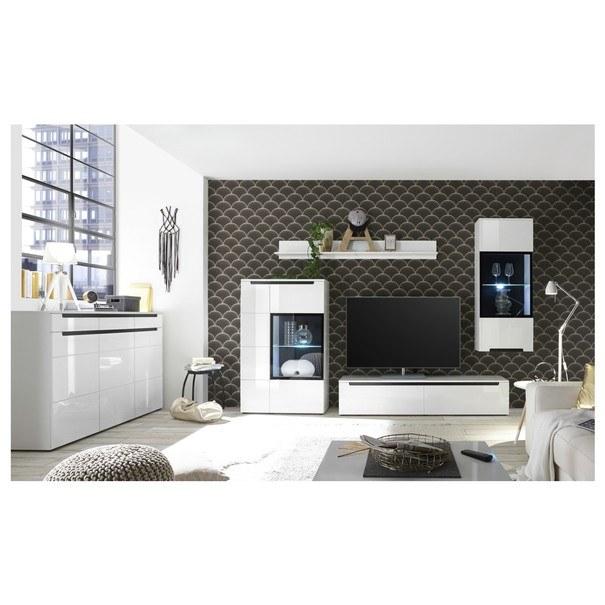 Obývací stěna  THOR bílá vysoký lesk 2