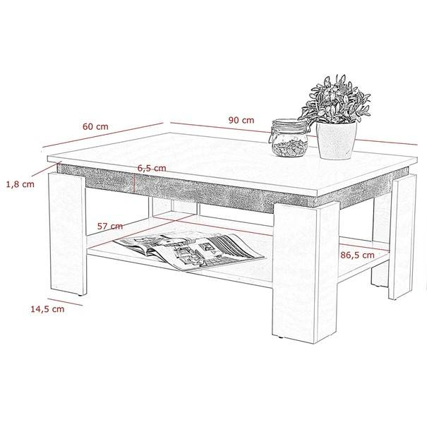 Konferenční stolek TIM II bílá/beton 4