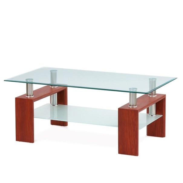 Konferenčný stolík TOLEDO sklo/čerešňa/kov 1