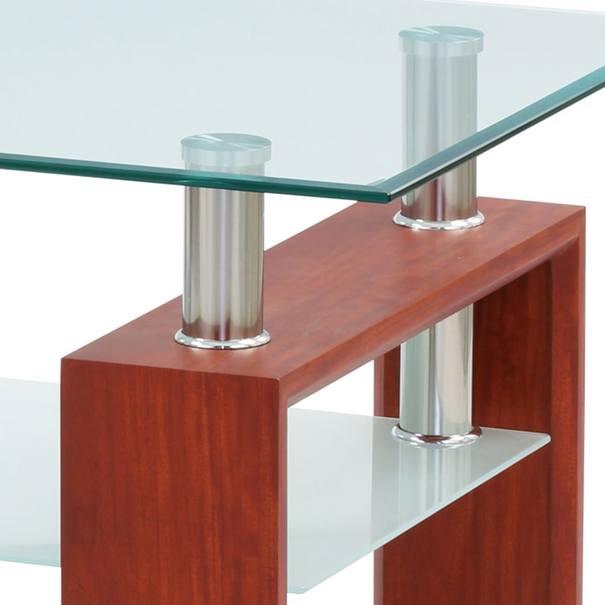 Konferenčný stolík TOLEDO sklo/čerešňa/kov 2
