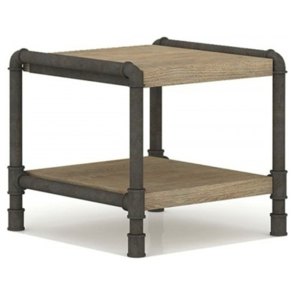 Přístavný stolek TUBE akácie/hnědá 2