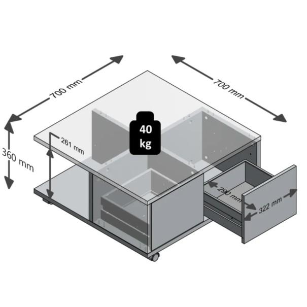Konferenční stolek TWIN beton/bílá 5