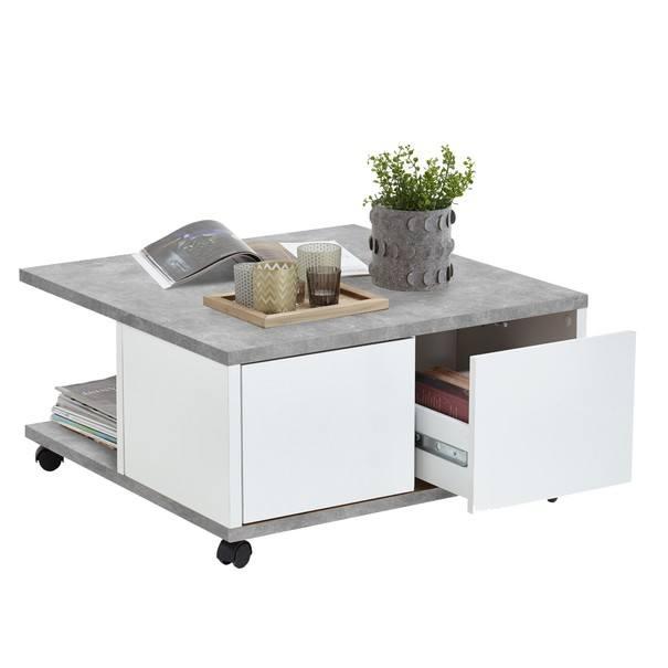 Konferenční stolek TWIN beton/bílá 4